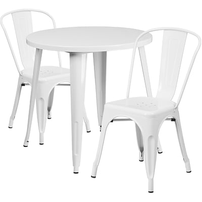 30 Round White Metal Indoor-Outdoor Table Set with 2 Cafe Chairs [CH-51090TH-2-18CAFE-WH-GG]