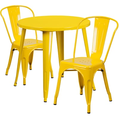 30 Round Yellow Metal Indoor-Outdoor Table Set with 2 Cafe Chairs [CH-51090TH-2-18CAFE-YL-GG]