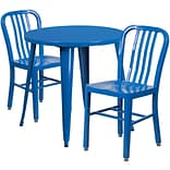 30 Round Blue Metal Indoor-Outdoor Table Set with 2 Vertical Slat Back Chairs [CH-51090TH-2-18VRT-