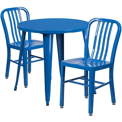 30 Round Blue Metal Indoor-Outdoor Table Set with 2 Vertical Slat Back Chairs [CH-51090TH-2-18VRT-BL-GG]