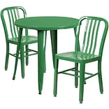 30 Round Green Metal Indoor-Outdoor Table Set with 2 Vertical Slat Back Chairs [CH-51090TH-2-18VRT
