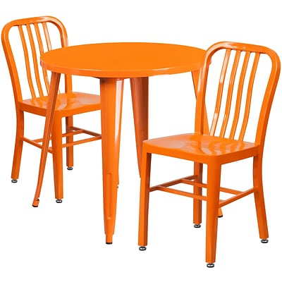 30 Round Orange Metal Indoor-Outdoor Table Set with 2 Vertical Slat Back Chairs [CH-51090TH-2-18VRT-OR-GG]