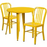 30 Round Yellow Metal Indoor-Outdoor Table Set with 2 Vertical Slat Back Chairs [CH-51090TH-2-18VR