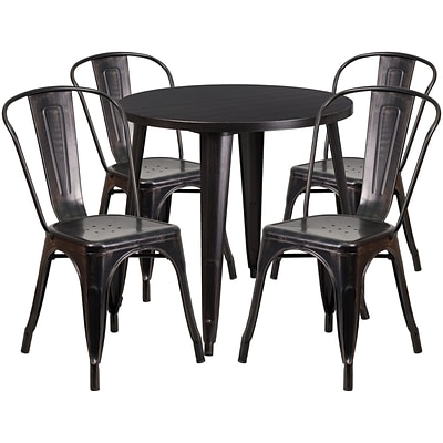 30 Round Black-Antique Gold Metal Indoor-Outdoor Table Set with 4 Cafe Chairs [CH-51090TH-4-18CAFE-BQ-GG]