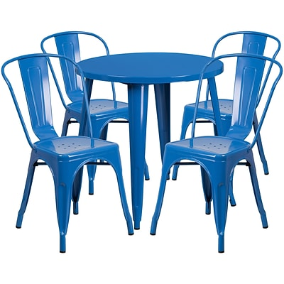 30 Round Blue Metal Indoor-Outdoor Table Set with 4 Cafe Chairs [CH-51090TH-4-18CAFE-BL-GG]