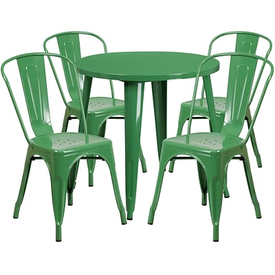 30 Round Green Metal Indoor-Outdoor Table Set with 4 Cafe Chairs [CH-51090TH-4-18CAFE-GN-GG]