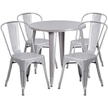30 Round Silver Metal Indoor-Outdoor Table Set with 4 Cafe Chairs [CH-51090TH-4-18CAFE-SIL-GG]