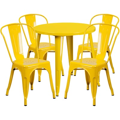 30 Round Yellow Metal Indoor-Outdoor Table Set with 4 Cafe Chairs [CH-51090TH-4-18CAFE-YL-GG]