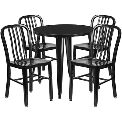 30 Round Black Metal Indoor-Outdoor Table Set with 4 Vertical Slat Back Chairs [CH-51090TH-4-18VRT-BK-GG]
