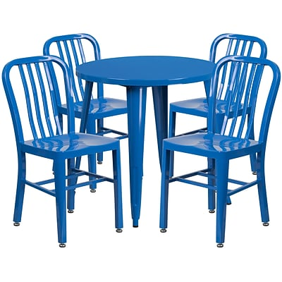 30 Round Blue Metal Indoor-Outdoor Table Set with 4 Vertical Slat Back Chairs [CH-51090TH-4-18VRT-BL-GG]