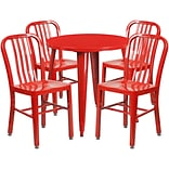 30 Round Red Metal Indoor-Outdoor Table Set with 4 Vertical Slat Back Chairs [CH-51090TH-4-18VRT-R