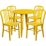30 Round Yellow Metal Indoor-Outdoor Table Set with 4 Vertical Slat Back Chairs [CH-51090TH-4-18VR