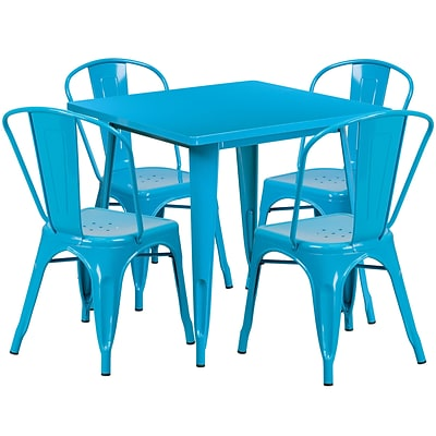 31.5 Square Crystal Blue Metal Indoor-Outdoor Table Set with 4 Stack Chairs [ET-CT002-4-30-CB-GG]