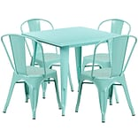 31.5 Square Mint Green Metal Indoor-Outdoor Table Set with 4 Stack Chairs [ET-CT002-4-30-MINT-GG]