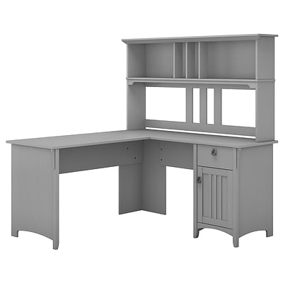 Bush Furniture Salinas 60W L Shaped Desk with Hutch, Cape Cod Gray (SAL004CG)