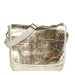 New York City Subwayline Map Gold PVC Messenger Bag