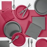 Creative Converting Gray and Burgundy Party Supplies Kit (DTCBGGRY2A)