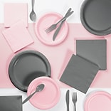Creative Converting Gray and Classic Pink Party Supplies Kit (DTCPKGRY2A)