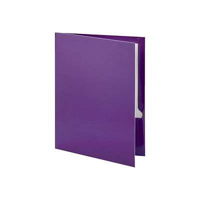 Oxford Twin Laminated Folders, Metallic Purple, 25/Box (OXF 5049526)