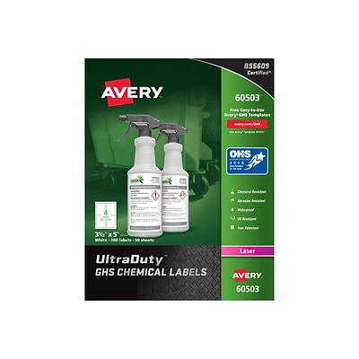 Avery UltraDuty Laser Specialty Labels, 3 1/2 x 5, White, 4/Sheet, 50 Sheets/Pack (60503)