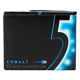 Wrigley 5 GUM Cobalt Peppermint Sugarfree Chewing Gum, 15 Pieces, Pack of 10 (WMW51220)