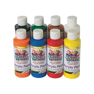 Color Splash Non Washable Acrylic Paints, Assorted, 8 Oz., 8/Pack (PT3127)