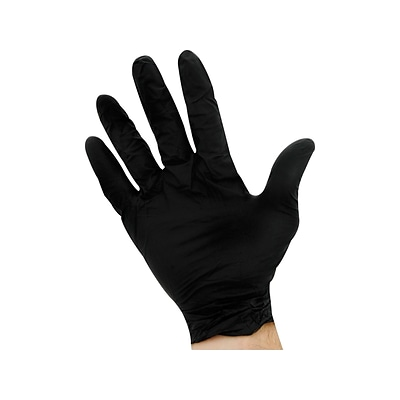 Ambitex N200BLK Series Powder Free Black Nitrile Gloves, Large, 100/Box (NLG200BLK)
