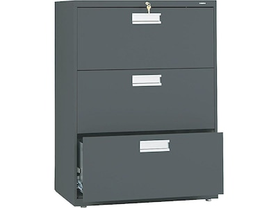 Hon Brigade 600 Series 3 Drawer Lateral File Cabinet Locking Letter Legal Charcoal 30 W H673 L S