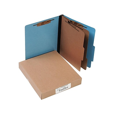 ACCO ColorLife PRESSTEX Classification Folders with Permclip Fasteners, Letter Size, 2 Dividers, Light Blue, 10/Box (A7015662)