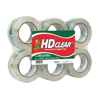 Duck HD Clear, Acrylic Packing Tape, 1.88 x 109.3 yds., Clear, 6/Pack (299016)