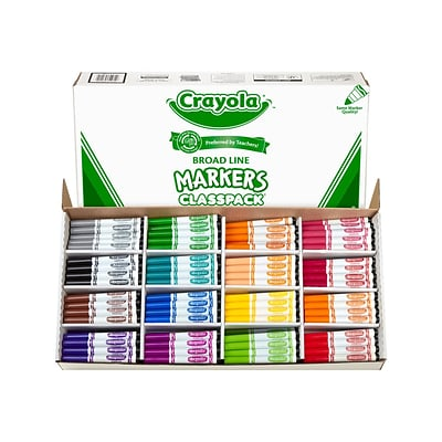 Crayola Kids Markers, Broad Line, Assorted Colors, 256/Carton (58-8201)