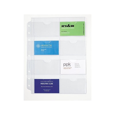 Day-Timer Folio Holders, Clear, 16 Card Capacity, 5/Pack (87325)