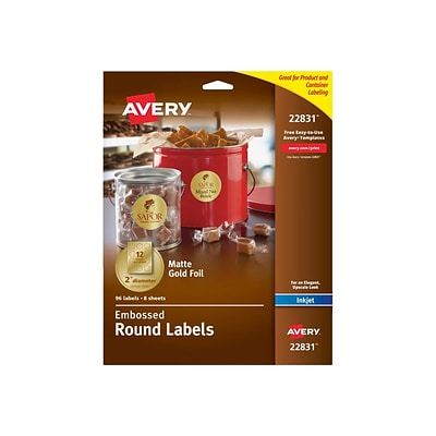 Avery Easy Peel Inkjet Specialty Labels, 2 Dia., Matte Gold, 12/Sheet, 8 Sheets/Pack (22831)