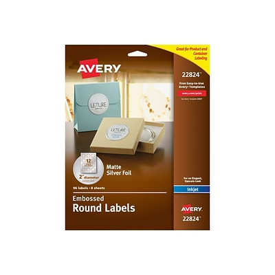 Avery Easy Peel Inkjet Specialty Labels, 2 Dia., Matte Silver, 12/Sheet, 8 Sheets/Pack (22824)