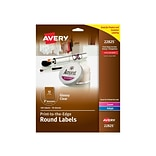 Avery Easy Peel Laser/Inkjet Specialty Labels, 2 Dia., Glossy Clear, 12/Sheet, 10 Sheets/Pack (2282