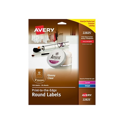 Avery Easy Peel Laser/Inkjet Specialty Labels, 2 Dia., Glossy Clear, 12/Sheet, 10 Sheets/Pack (22825)
