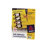 Avery Self-Adhesive Laminating Sheets, 9 x 12, 50/Box (73601)