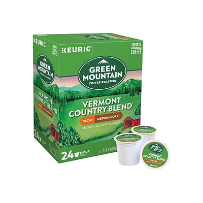 Green Mountain Vermont Country Blend Decaf Coffee, Keurig K-Cup Pods, Medium Roast, 24/Box (7602)