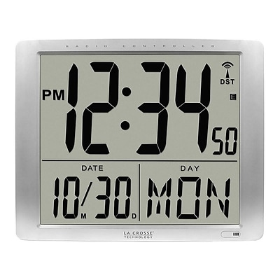 La Crosse Technology Atomic Wall/Table Clock, Plastic, 15.35H x 19.09W x 1.57D (515-1316)