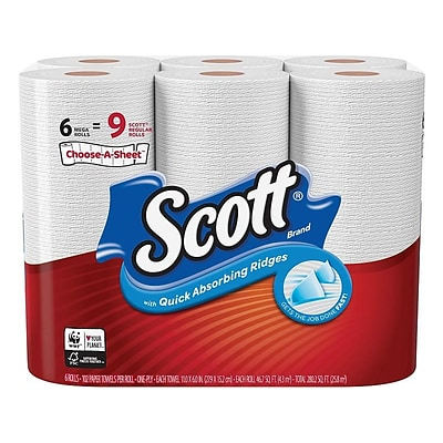Scott Choose-A-Sheet Kitchen Roll Paper Towels, 1-ply, 102 Sheets/Roll, 6 Mega Rolls/Pack (16447)