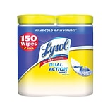 Lysol Dual Action Disinfecting Wipes, Citrus, 75/Canister, 2 Canisters/Pack (1920084922)