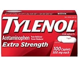 Extra Strength Tylenol 500mg Acetaminophen Pain Reliever Caplet, 100/Box (044909)