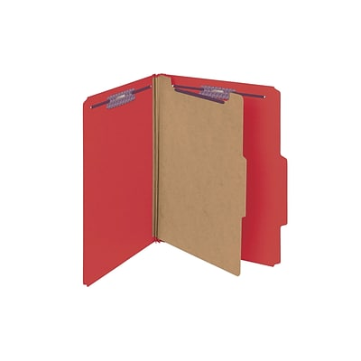 Smead Classification Folders with SafeSHIELD Fasteners, 2 Expansion, Letter Size, 1 Divider, Bright Red, 10/Box (13731)