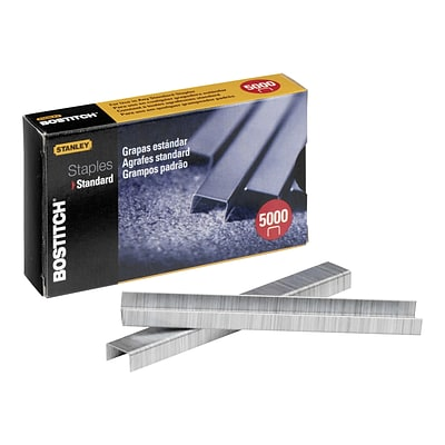 Bostitch Premium Standard Staples, 0.25 Leg Length, 5000/Box (SBS191/4CP)