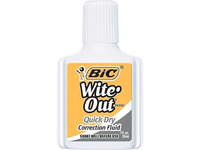 BIC Wite-Out Quick Dry Correction Fluid, White (50605)