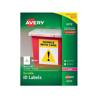 Avery Durable Laser Identification Labels, 8 1/2 x 11, White, 1/Sheet, 50 Sheets/Pack (6575)