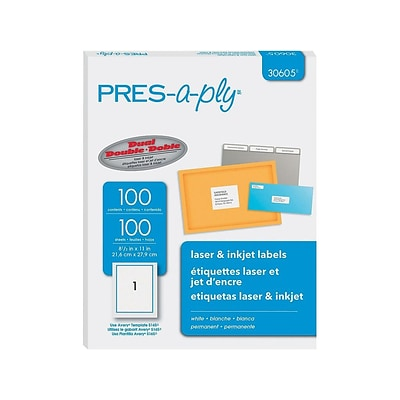 Pres-a-ply Laser/Inkjet Address Labels, 8 1/2 x 11, White, 1/Sheet, 100 Sheets/Pack (30605)