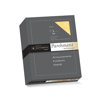 Southworth Parchment Specialty Multipurpose Paper, 24 Lbs., 8.5 x 11, Gold, 500/Box (994C)