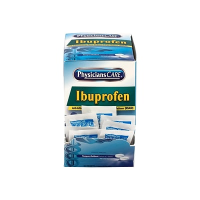 Physicians Care 200mg Ibuprofen Pain Reliever Tablet, 2/Packet, 50 Packets/Box (90015)