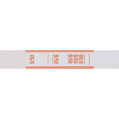 Pap-R Products Currency Straps, Orange/White, 1000/Pack (400050)